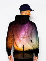 Person Staring Into Galaxy Pullover Hoodie Model Back View