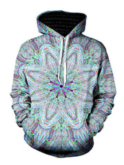 Trippy Purple And Green Pullover Hoodie Front View