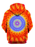 Bright Red And Purple Trippy Pullover Hoodie Back View
