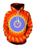 Bright Red And Purple Trippy Pullover Hoodie Front View