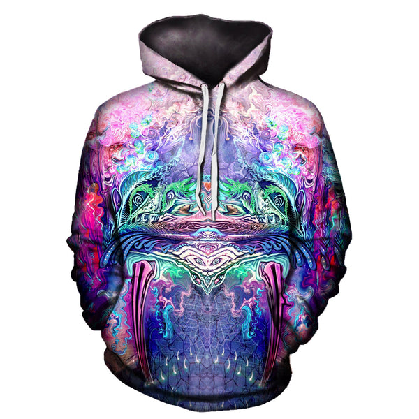 Trippy Multi-Colored Pullover Hoodie Back View