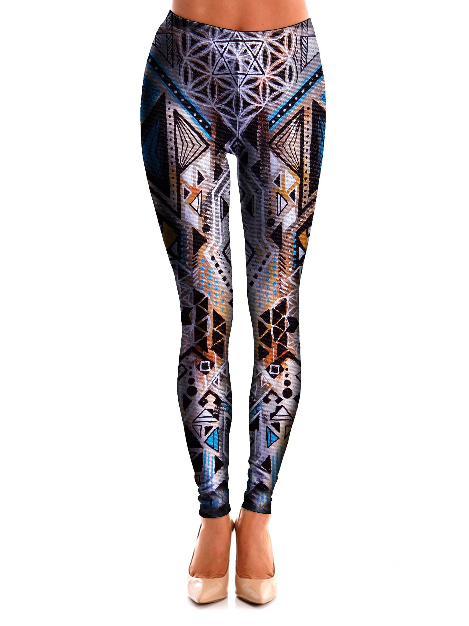 Multi Colored Sacred Geometry Leggings Front View