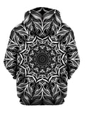 Black And White Trippy Mandala Pullover Hoodie Back View