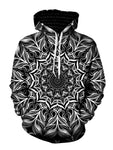Black And White Trippy Mandala Pullover Hoodie Front View