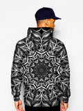 Model In Black And White Trippy Mandala Pullover Hoodie Back View