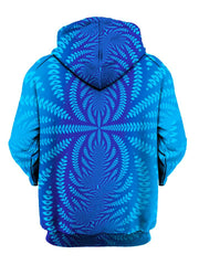 Trippy royal blue all over print, pullover hoodie back view