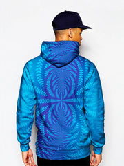 Model In Trippy Blue Print Pullover Hoodie Back View