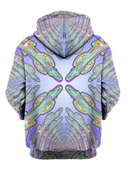 Psychedelic Light Blue And Green Pullover Hoodie Back View