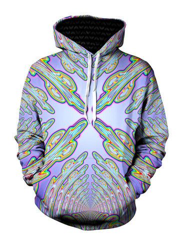 Psychedelic Light Blue And Green Pullover Hoodie Front View