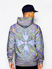 Model In Psychedelic Blue And Green Pullover Hoodie Back View