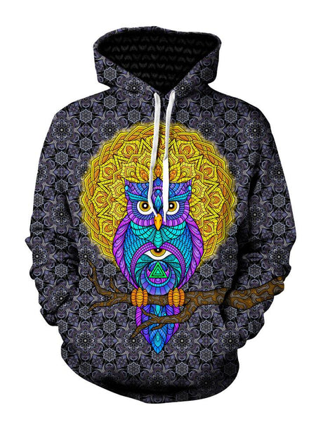 Geometric blue and purple owl with black and yellow background pullover hoodie front view