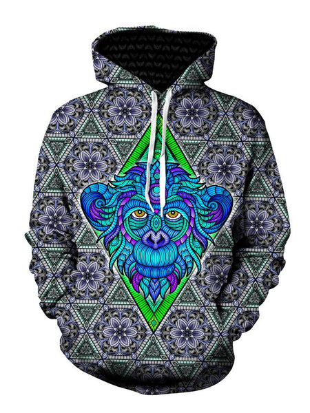 Psychedelic Blue Monkey Pullover Hoodie Front View