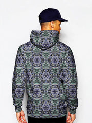Model In Psychedelic Blue Monkey Pullover Hoodie Back View