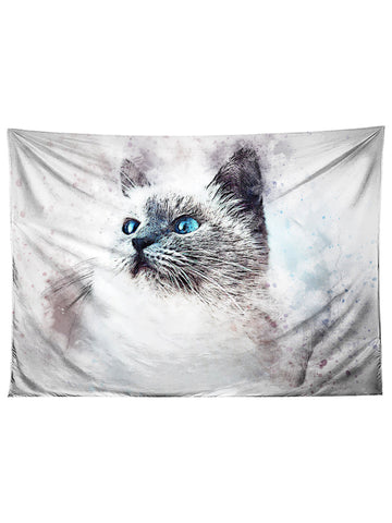 Horizontal hanging view of all over print blue eyed white cat tapestry by GratefullyDyed Apparel.