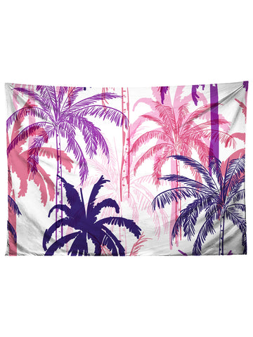 Horizontal hanging view of all over print purple, pink & white palm tree tapestry by GratefullyDyed Apparel.