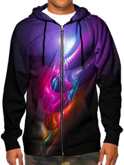 Beautiful Purple Pink Orange All Over Trippy Print Zip Up Hoodie Front