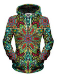 Women's front view of trippy rainbow flower mandala pullover hoodie.