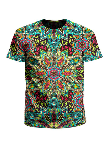Men's rainbow mandala unisex t-shirt front view.