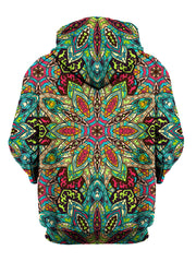 Rear of retro rainbow flower zip-up hoody.