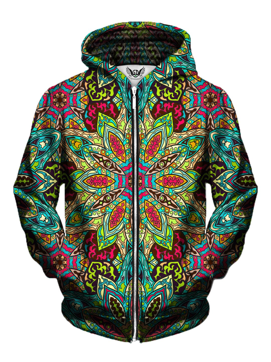 Men's rainbow flower mandala zip-up hoodie front view.