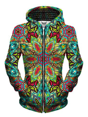 Front view of women's all over print sacred geometry zip up hoody by Gratefully Dyed Apparel.