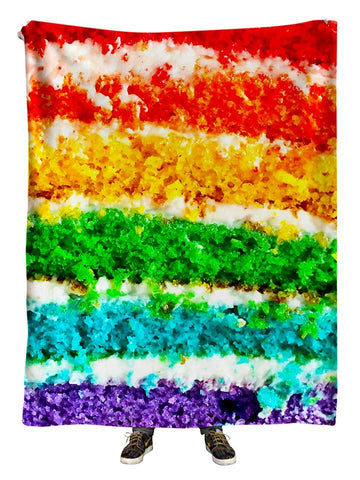 Hanging view of all over print rainbow cake blanket by GratefullyDyed Apparel.