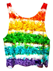 All over print psychedelic birthday foodie cropped top by Gratefully Dyed Apparel back view.