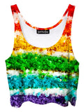 Trippy front view of GratefullyDyed Apparel rainbow cake crop top.