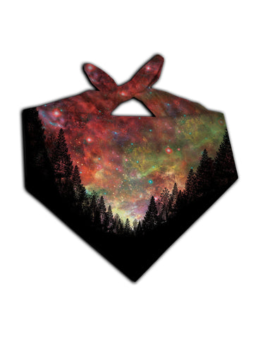 All over print rainbow forest galaxy bandana by GratefullyDyed Apparel tied neck scarf view.