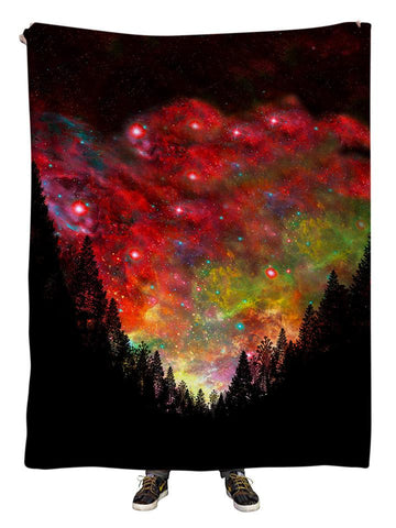 Hanging view of all over print red, black & rainbow forest galaxy blanket by GratefullyDyed Apparel.