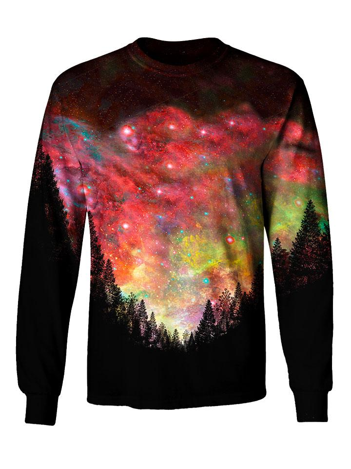 Gratefully Dyed Apparel red & rainbow forest galaxy unisex long sleeve front view.