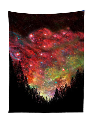 Vertical hanging view of all over print red & rainbow forest galaxy tapestry by GratefullyDyed Apparel.