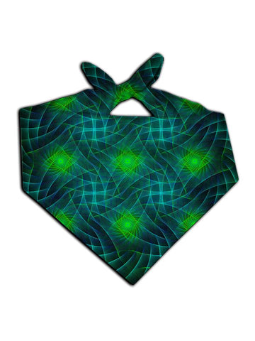 Green geometric shapes print bandana tied