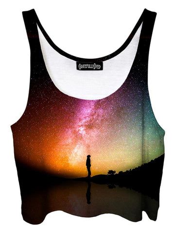 Trippy front view of GratefullyDyed Apparel black & rainbow galaxy crop top.