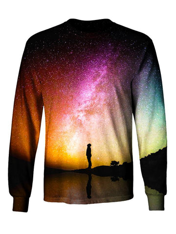 Gratefully Dyed Apparel rainbow galaxy unisex long sleeve front view.