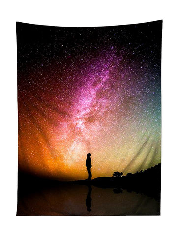 Vertical hanging view of all over print rainbow galaxy tapestry by GratefullyDyed Apparel.