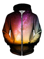 Men's rainbow galaxy zip-up hoodie front view.