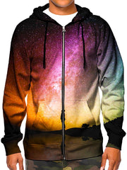 Model wearing GratefullyDyed Apparel psychedelic rainbow galaxy zip-up hoodie.