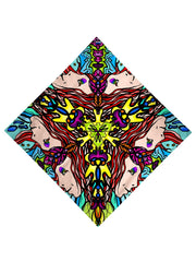 Trippy Gratefully Dyed Apparel mirrored face mandala bandana flat view.