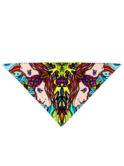 Diagonally folded psychedelic visionary art printed headband.