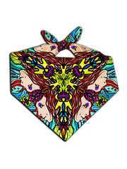 All over print mirrored face mandala bandana by GratefullyDyed Apparel tied neck scarf view.