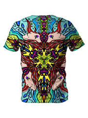 Back view of all over print psychedelic visionary art t shirt by Gratefully Dyed Apparel.