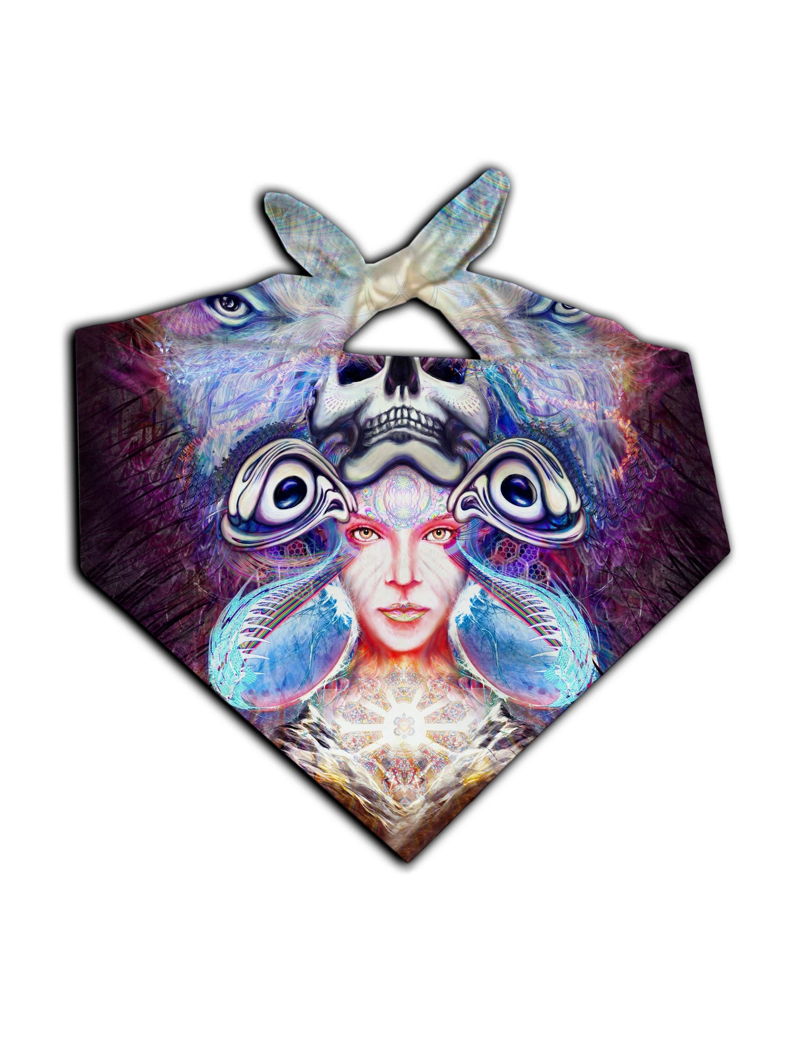 All over print blue & purple visionary art bandana by GratefullyDyed Apparel tied neck scarf view.