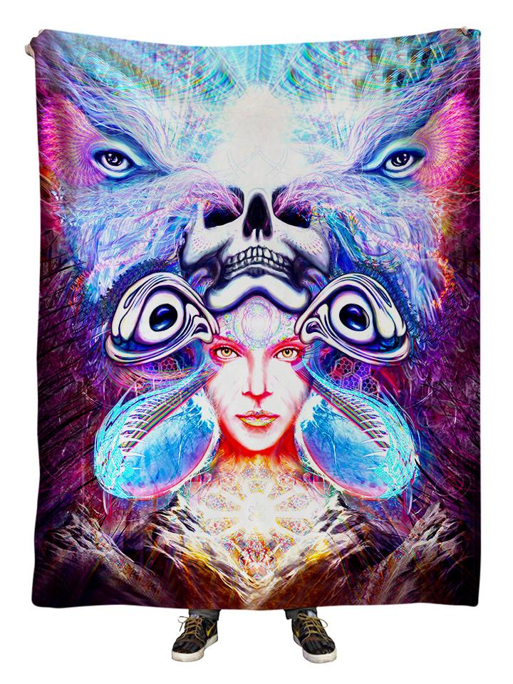 Hanging view of all over print purple, pink & blue visionary art blanket by GratefullyDyed Apparel.
