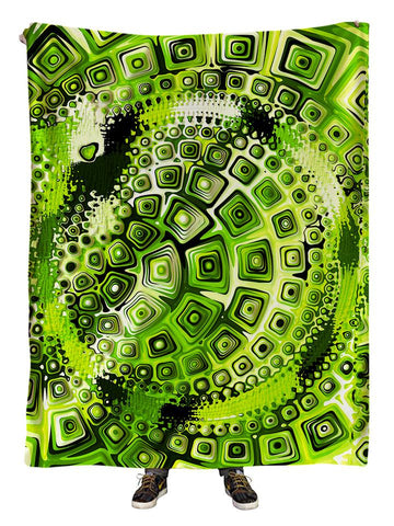 Hanging view of all over print green geometric mandala blanket by GratefullyDyed Apparel.