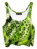 Trippy front view of GratefullyDyed Apparel retro green geometric fractal crop top.
