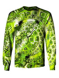 Gratefully Dyed Apparel green geometric mandala unisex long sleeve front view.