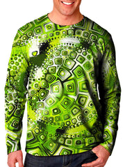 Front view of model wearing Gratefully Dyed Apparel green geometric mandala unisex long sleeve.