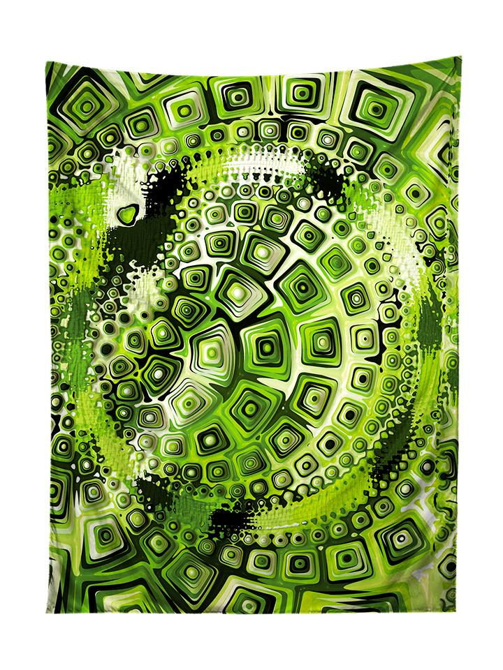 Vertical hanging view of all over print green geometric mandala tapestry by GratefullyDyed Apparel.