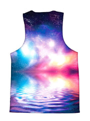 Psychedelic all over print space ripple tank by GratefullyDyed Apparel back view.